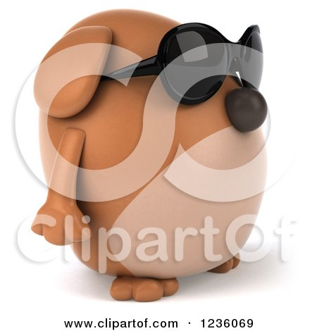 Clipart of a 3d Chubby Brown Dog Wearing Sunglasses and Facing Right - Royalty Free Illustration by Julos
