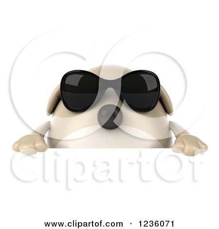 Clipart of a 3d Chubby Dog Wearing Sunglasses over a Sign - Royalty Free Illustration by Julos