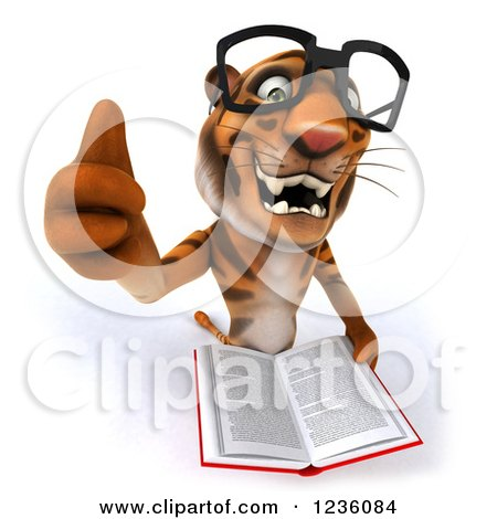 Clipart of a 3d Bespectacled Tiger Holding a Thumb up and Reading a Book - Royalty Free Illustration by Julos