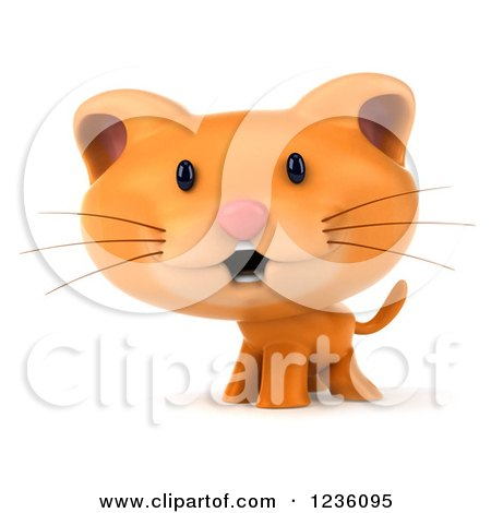 Clipart of a 3d Happy Ginger Cat - Royalty Free Illustration by Julos