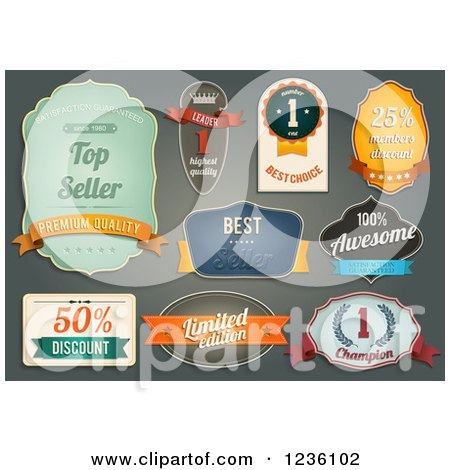 Clipart of Retail Labels - Royalty Free Vector Illustration by Eugene
