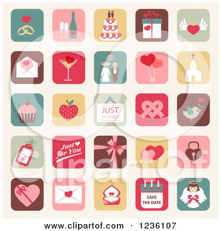 Clipart of Marriage Icons - Royalty Free Vector Illustration by Eugene