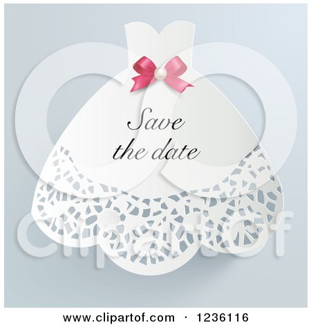 Clipart of a Doily Wedding Dress Save the Date Invitation - Royalty Free Vector Illustration by Eugene