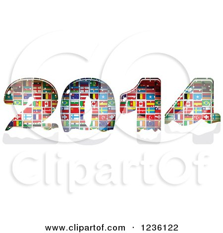 Clipart of Year 2014 Made of National Flags - Royalty Free Vector Illustration by Andrei Marincas
