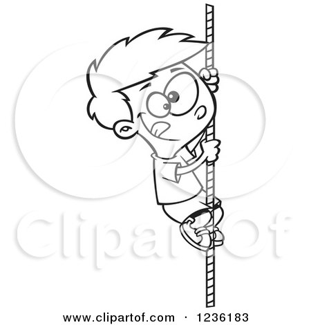 Clipart of a Black and White Athletic Boy Climbing a Rope - Royalty Free Vector Illustration by toonaday
