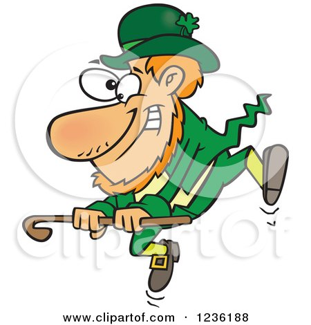 Clipart of a St Patricks Day Leprechaun Dancing with a Cane - Royalty Free Vector Illustration by Ron Leishman