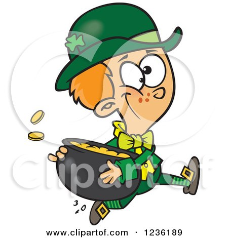 Clipart Of A St Patricks Day Leprechaun Boy Running With A Pot Of Gold Royalty Free Vector Illustration