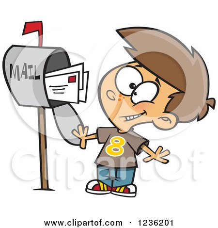 Clipart of a Caucasian Happy Boy Mailing Letters - Royalty Free Vector Illustration by toonaday