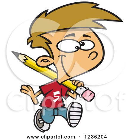 Clipart of a Caucasian School Boy Hauling a Giant Pencil on His Shoulder - Royalty Free Vector Illustration by toonaday