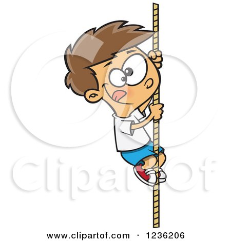 Clipart of a Caucasian Athletic Boy Climbing a Rope - Royalty Free Vector Illustration by toonaday