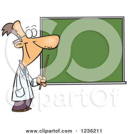 Clipart of a Happy Male Science Teacher Pointing to a Chalk Board - Royalty Free Vector Illustration by toonaday