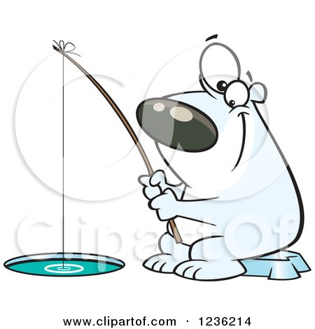 Clipart of a Happy Polar Bear Ice Fishing - Royalty Free Vector Illustration by toonaday