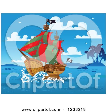 Clipart of a Sailing Pirate Ship and Islands on a Blue Day - Royalty Free Vector Illustration by Pushkin