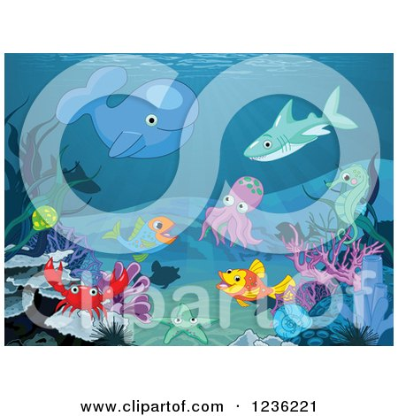 Clipart of Sea Creatures Gathered on the Ocean Floor - Royalty Free Vector Illustration by Pushkin