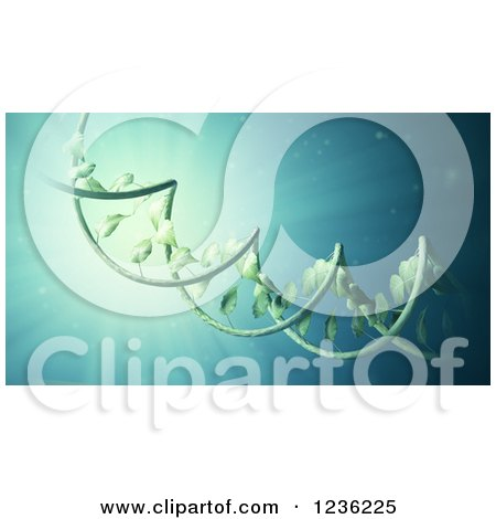 Clipart of a 3d DNA Double Helix Vine over Blue - Royalty Free CGI Illustration by Mopic