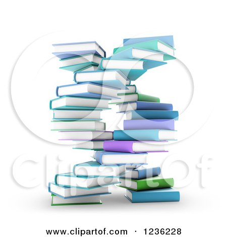 Clipart of 3d Books Forming a DNA Spiral - Royalty Free CGI Illustration by Mopic