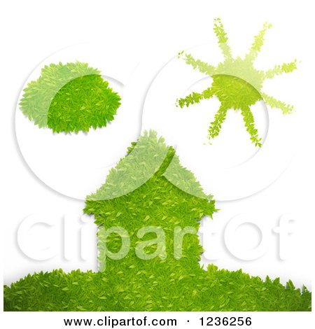 Clipart of a 3d Ego Grass House on a Hill with a Sun and Cloud, over White - Royalty Free CGI Illustration by Mopic