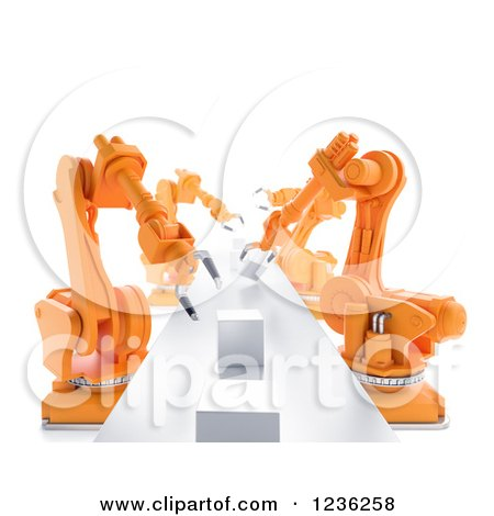 Clipart of a 3d Assembly Line of Robotic Arms and Cubes, over White - Royalty Free CGI Illustration by Mopic