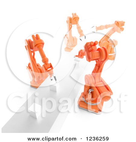 Clipart of a 3d Assembly Line of Robotic Arms and Cubes, over White 2 - Royalty Free CGI Illustration by Mopic