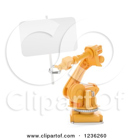 Clipart of a 3d Assembly Robotic Arm Holding a Sign, on White - Royalty Free CGI Illustration by Mopic