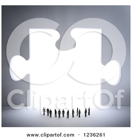 Clipart of a 3d Group of Tiny People at a Bright Puzzle Piece Opening - Royalty Free CGI Illustration by Mopic