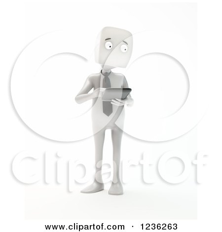 Clipart of a 3d White Businessman Holding a Smartphone or Tablet, on White - Royalty Free CGI Illustration by Mopic
