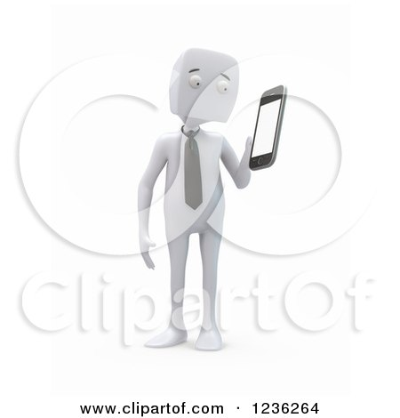 Clipart of a 3d White Businessman Holding a Smartphone, on White - Royalty Free CGI Illustration by Mopic