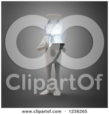 Clipart of a 3d White Businessman Using a Smartphone or Tablet - Royalty Free CGI Illustration by Mopic