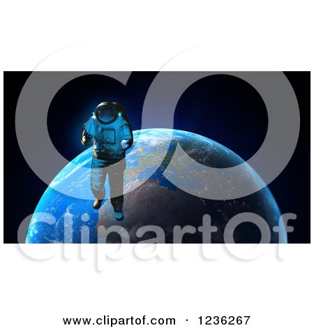 Clipart of a 3d Astronaut Doing a Space Walk over Earth - Royalty Free CGI Illustration by Mopic