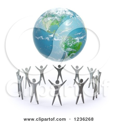 Clipart of a 3d Earth Hovering over a Circle of People - Royalty Free CGI Illustration by Mopic