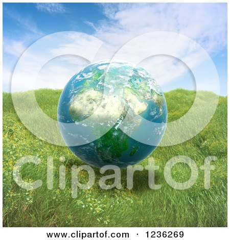 Clipart of a 3d African Globe Floating over Grass - Royalty Free CGI Illustration by Mopic
