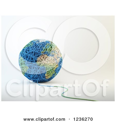 Clipart of a 3d Ball of Wool Yarn Forming Earth - Royalty Free CGI Illustration by Mopic