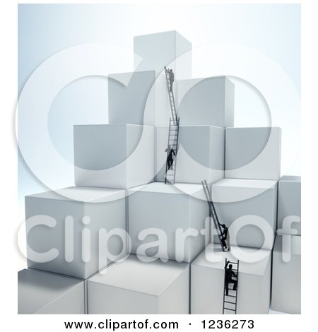 Clipart of 3d Businessmen Climbing Ladders on Stacked Cubes 2 - Royalty Free CGI Illustration by Mopic