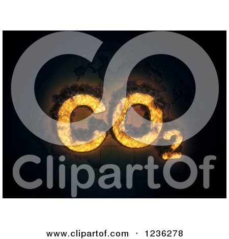 Clipart of 3d CO2 Carbon Dioxide Emissions over Bricks - Royalty Free CGI Illustration by Mopic