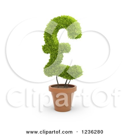 Clipart of a 3d Pound Currency Symbol Plant in a Terra Cotta Pot - Royalty Free CGI Illustration by Mopic