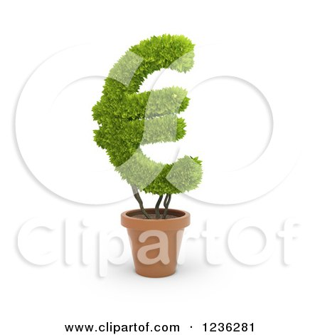 Clipart of a 3d Euro Currency Symbol Plant in a Terra Cotta Pot - Royalty Free CGI Illustration by Mopic