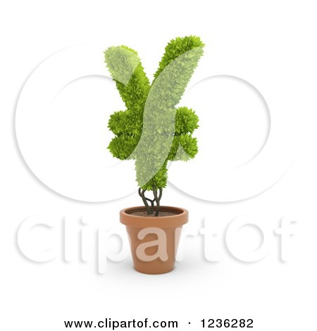 Clipart of a 3d Yen Currency Symbol Plant in a Terra Cotta Pot - Royalty Free CGI Illustration by Mopic