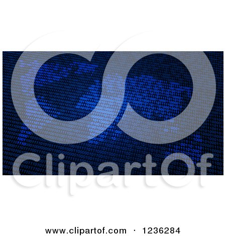 Clipart of a Blue Binary Code World Map Atlas - Royalty Free CGI Illustration by Mopic
