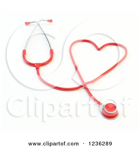 Clipart of a 3d Red Heart Shaped Medical Stethoschope - Royalty Free CGI Illustration by Mopic