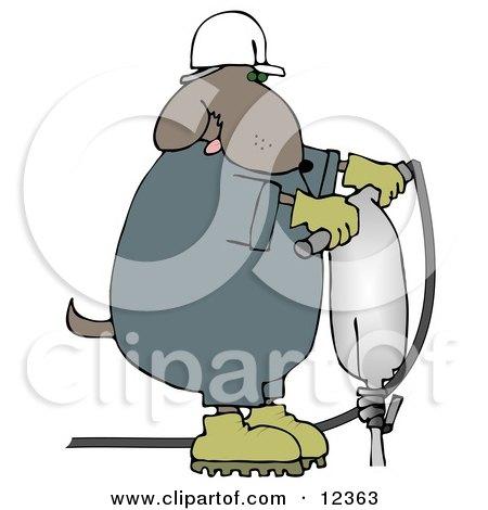 Construction Worker Dog in a Hardhat Using a Jack Hammer Clip Art Illustration by djart