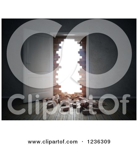 Clipart Of A 3d Open Door With A Broken Down Brick Wall Royalty Free CGI Illustration