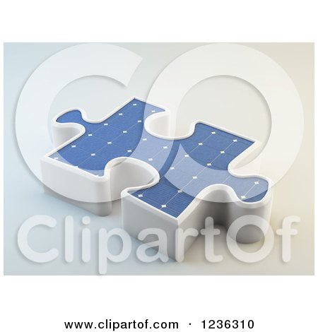 Clipart of a 3d Solar Photovoltaics Panel Jigsaw Puzzle Piece - Royalty Free CGI Illustration by Mopic