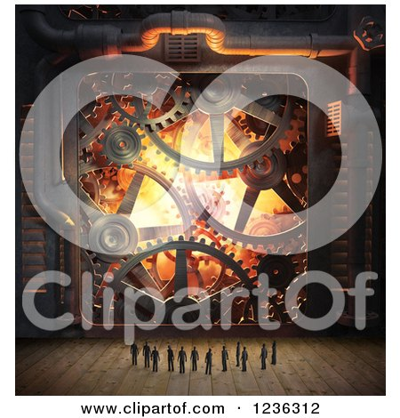 Clipart of a Group of 3d Tiny People and Industrial Gear Cog Wheels - Royalty Free CGI Illustration by Mopic