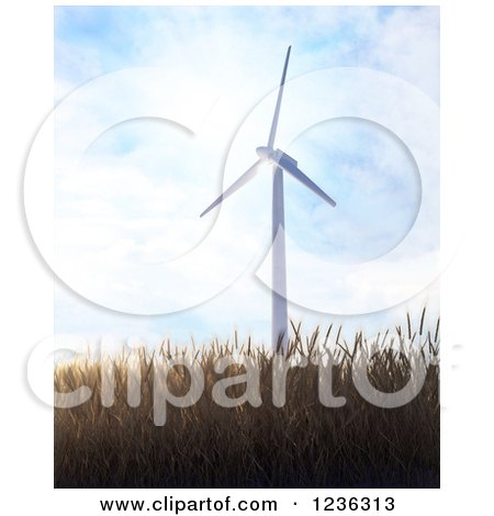 Clipart of a 3d Windmill over a Field of Wheat on a Sunny Day - Royalty Free CGI Illustration by Mopic