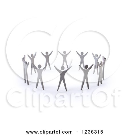 Clipart of a 3d Team of People Holding Their Arms up in a Circle - Royalty Free CGI Illustration by Mopic