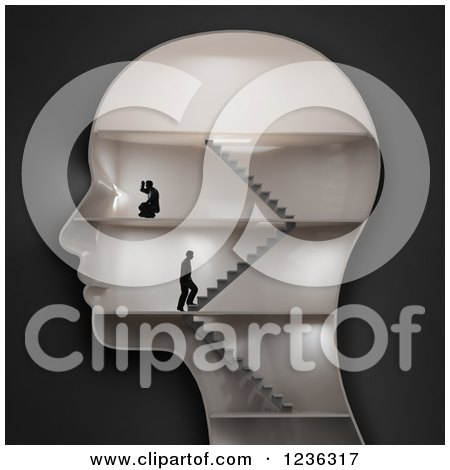 Clipart of a 3d Human Head with Businessmen and Stairs in the Interior - Royalty Free CGI Illustration by Mopic