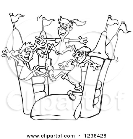 Clipart of B;acl and White Children Jumping on a Colorful Castle Bouncy House - Royalty Free Vector Illustration by Dennis Holmes Designs