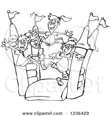 Clipart of Black and White Girls Jumping on a Colorful Castle Bouncy House - Royalty Free Vector Illustration by Dennis Holmes Designs