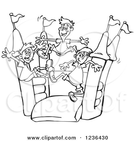 Clipart of Black and White Boys Jumping on a Castle Bouncy