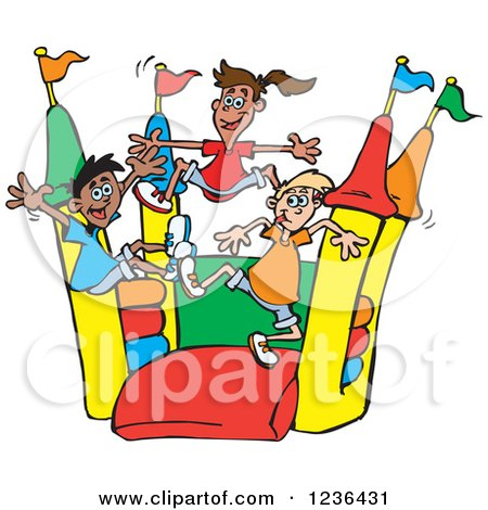 Royalty-Free (RF) Clipart of Bounce Houses, Illustrations, Vector ...